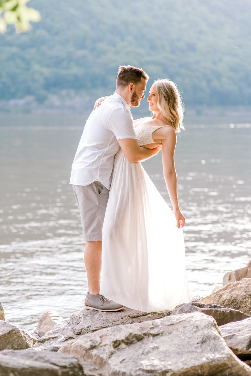 engagement pictures on summer evening in cold spring, new york