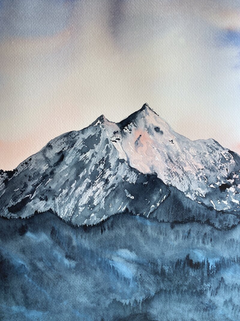 Learn to paint loose watercolor mountains like this one!