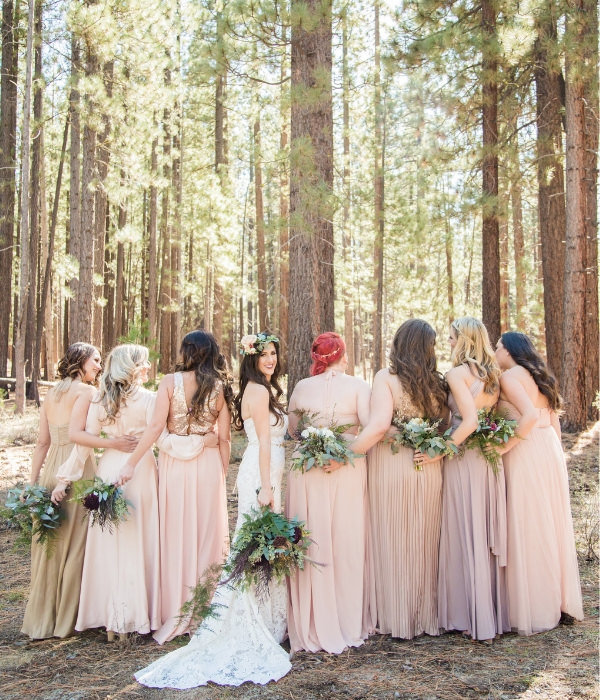 Joyful Lake Tahoe Wedding Planners bride and maids under Tahoe Pines, fall wedding at venue Sand Harbor Lake Tahoe, Joy of Life Events
