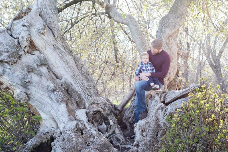 toddler with dad in a tree