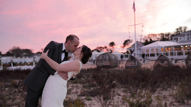 Bride and groom kissing at Chatham Bars Inn Wedding on Cape Cod