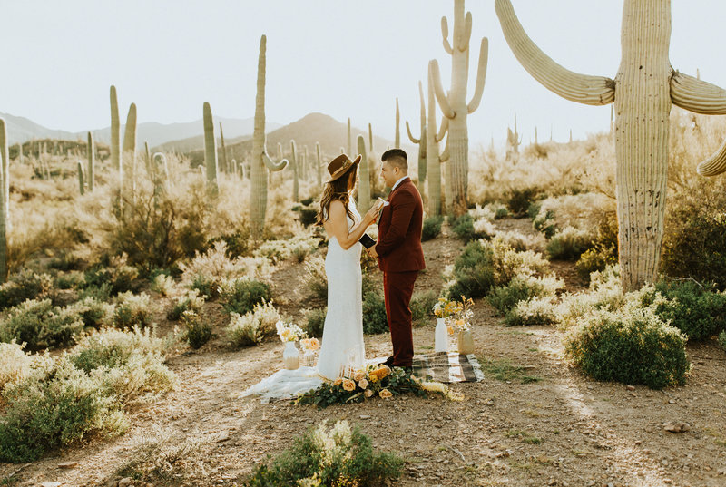 bride & groom surrounded by cactus