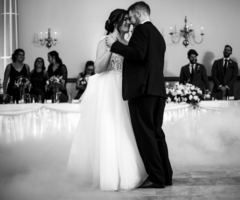 Bride and groom share first dance at the Greek Orthodox Church wedding reception in Erie PA