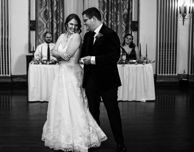 Bride and groom share first dance in the Grand Ballroom of George Washington Hotel