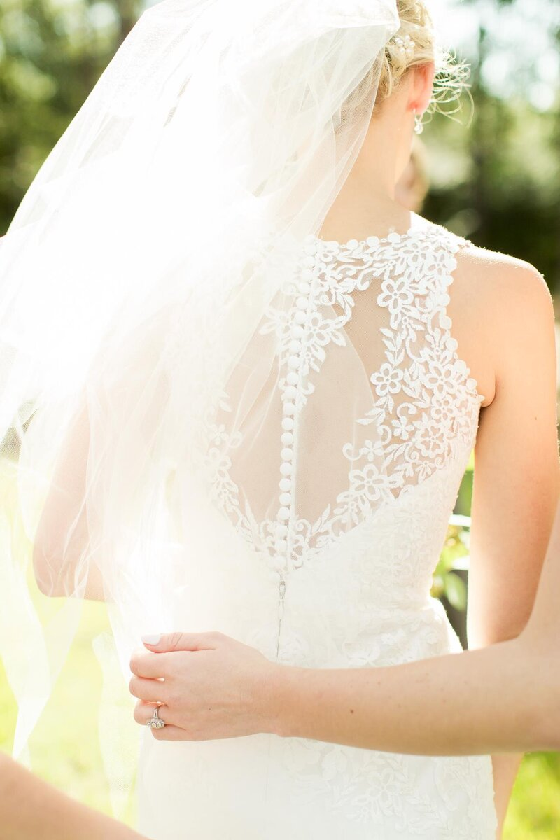 gorgeous lace work for the back of a white wedding gown