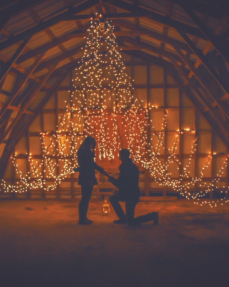 A man is on one knee, proposing to his girlfriend in a barn decorated with fairy lights.