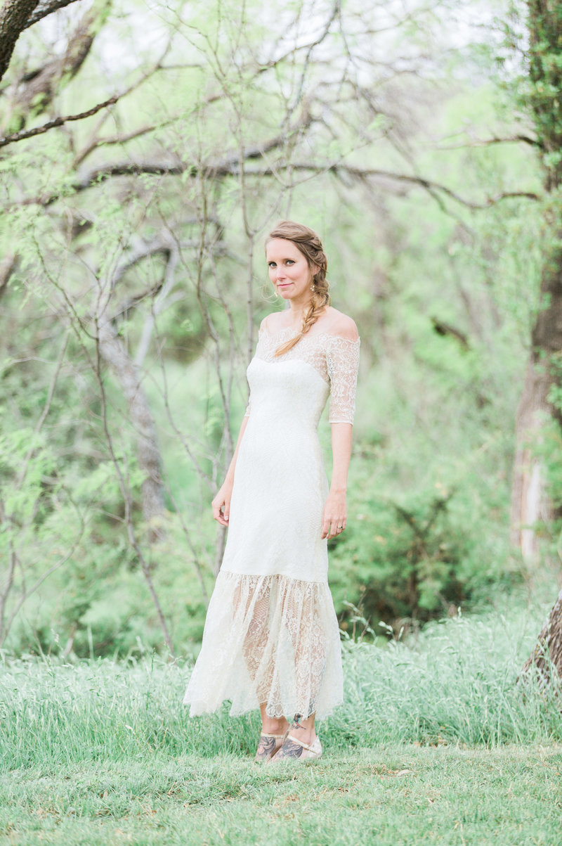 bridal portrait in vintage dress