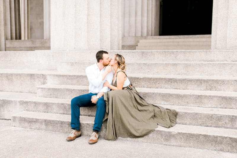 Engaged couple kissing on the steps of the Parthenon in Nashville Tennessee, Lexington Kentucky Wedding Photographer, Katelyn V. Photography