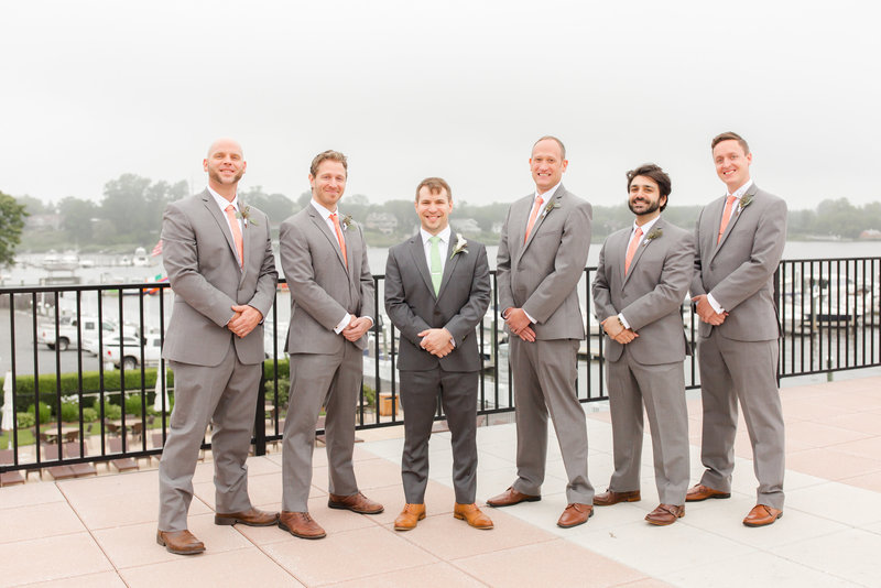 Groomsmen in gray suits from Menguin