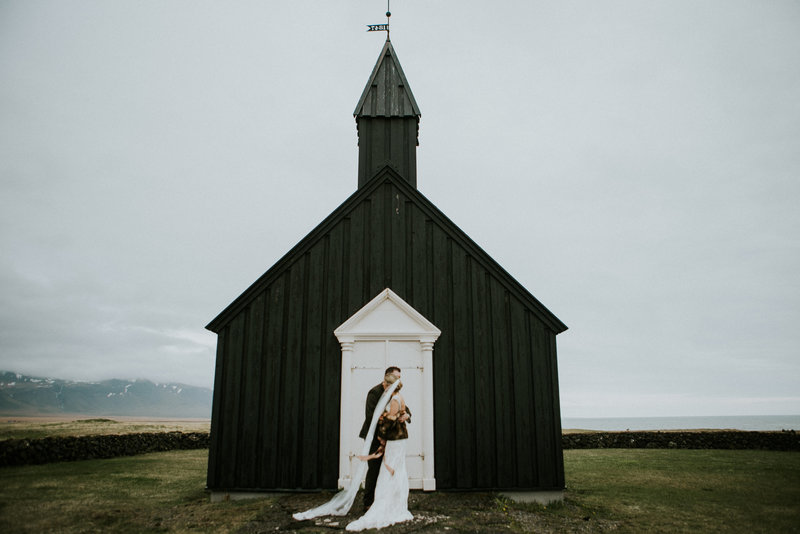 Budir Church Iceland Elopement Couple Embracing