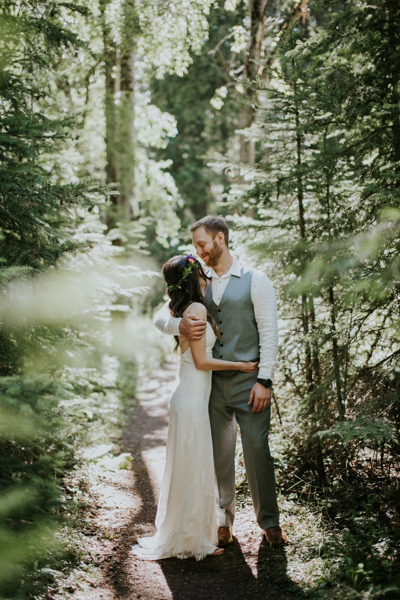 Forest Elopement National Park Couple Embracing