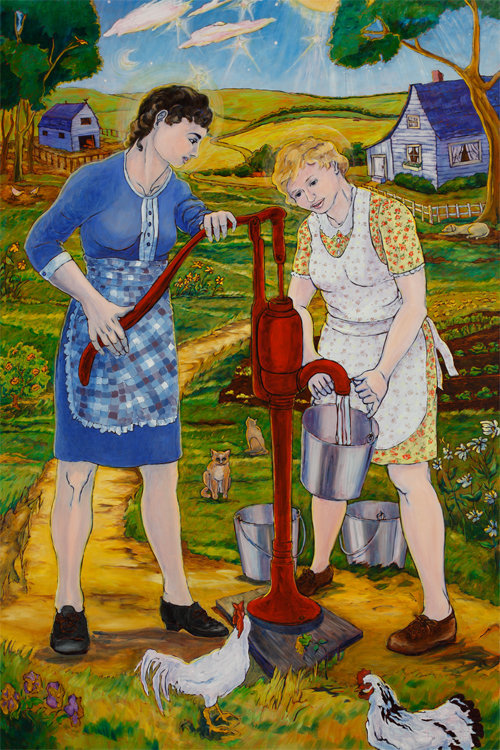 women at well with old water pump on farm with chickens, dog and cats, sun and moon, oil painting
