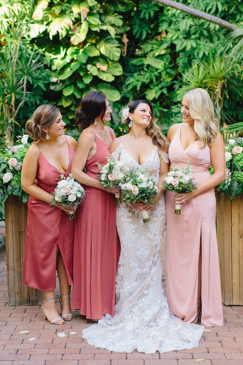 Bride and Bridesmaids at the Hemingway Home