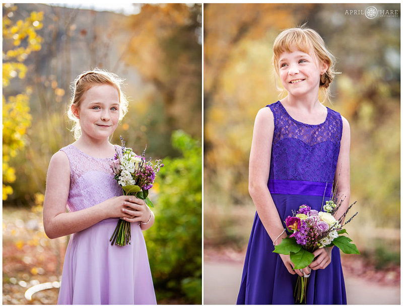 Identical twins at an outdoor fall wedding at The Golden Hotel in Colorado