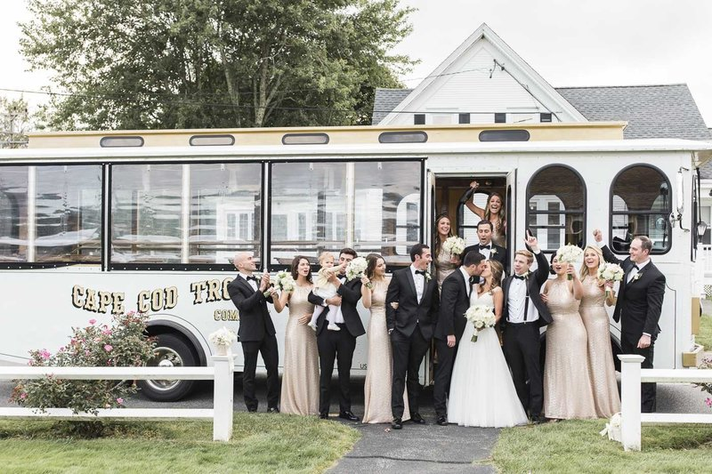 Wedding Party in front of trolly