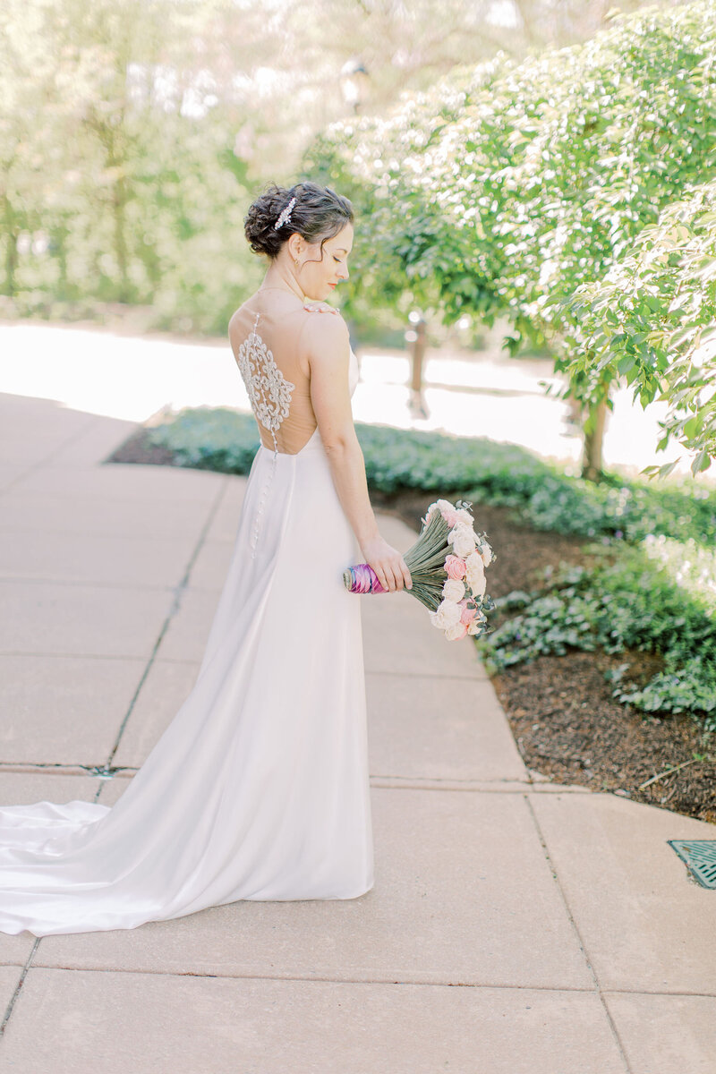 Edith Elan bride wearing Iset illusion back wedding dress for Phoenixville Foundry wedding in Pennsylvania