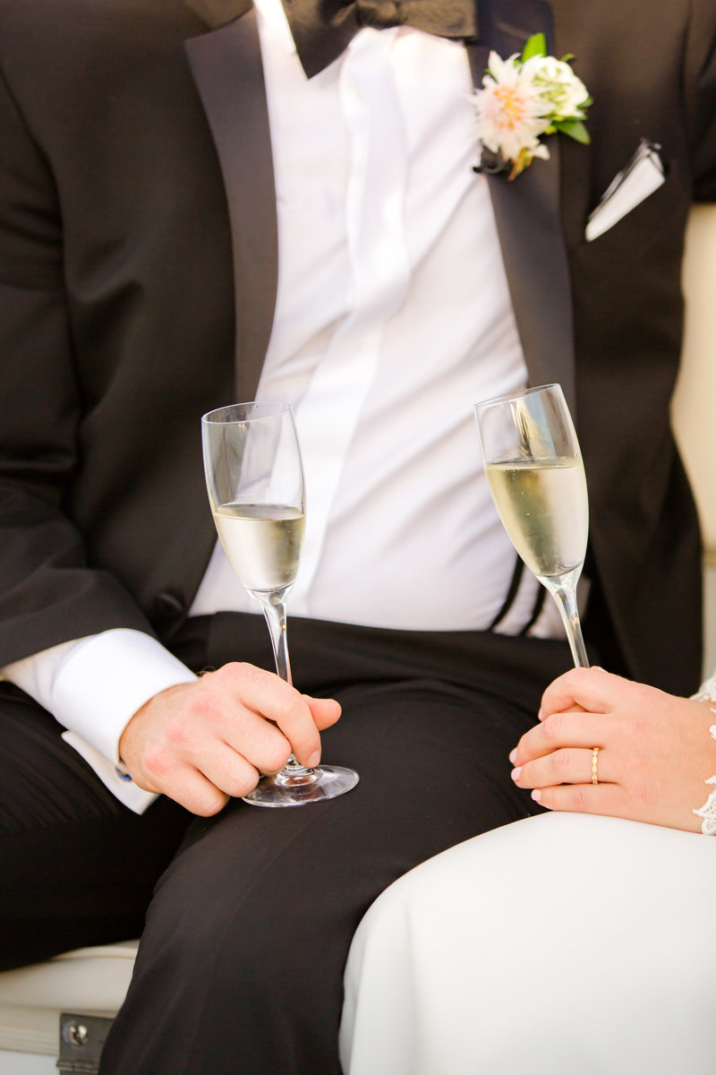 Champagne flutes after wedding ceremony