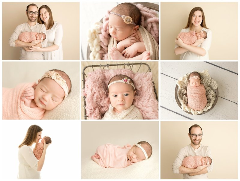 newborn session in pink and cream