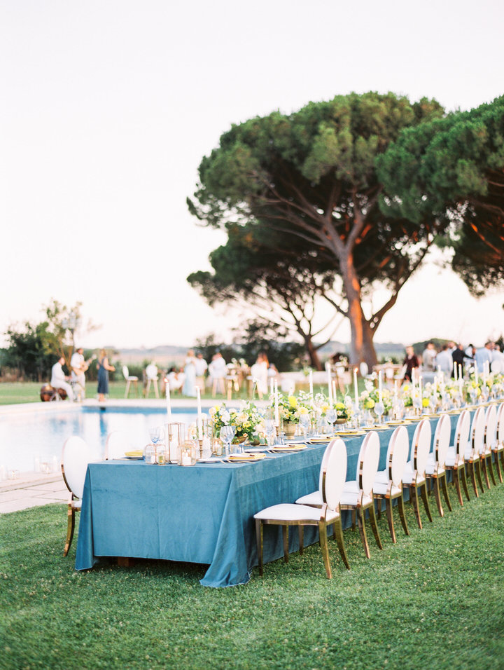 reception table at villa di fiorano wedding in rome photos by Leila Brewster