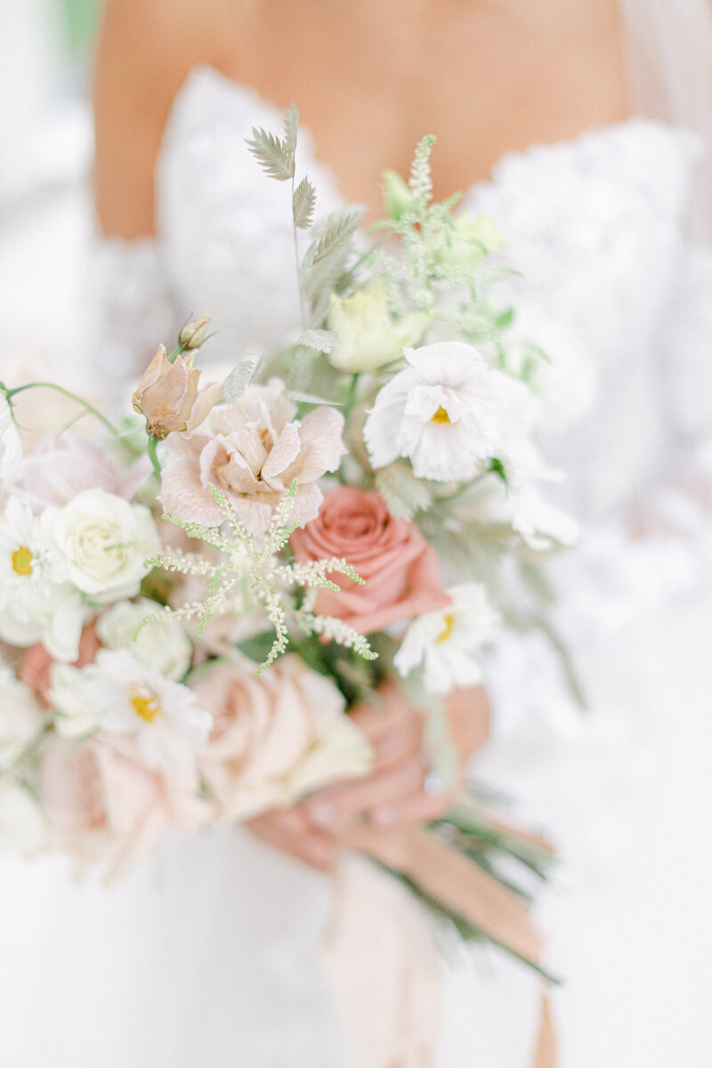 blush and ivory florals at Washington DC Romantic Classic Wedding at the Lincoln Memorial by Costola Photography