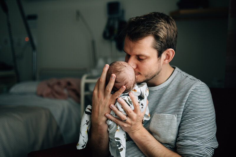 dad holding baby close In hospital Fresh 48 photography Melbourne And So I Don't Forget Photography