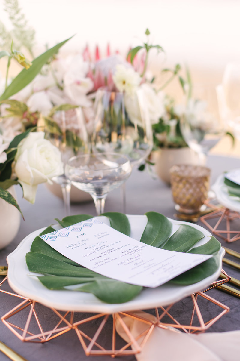 Table setting at Santa Barbara beach wedding