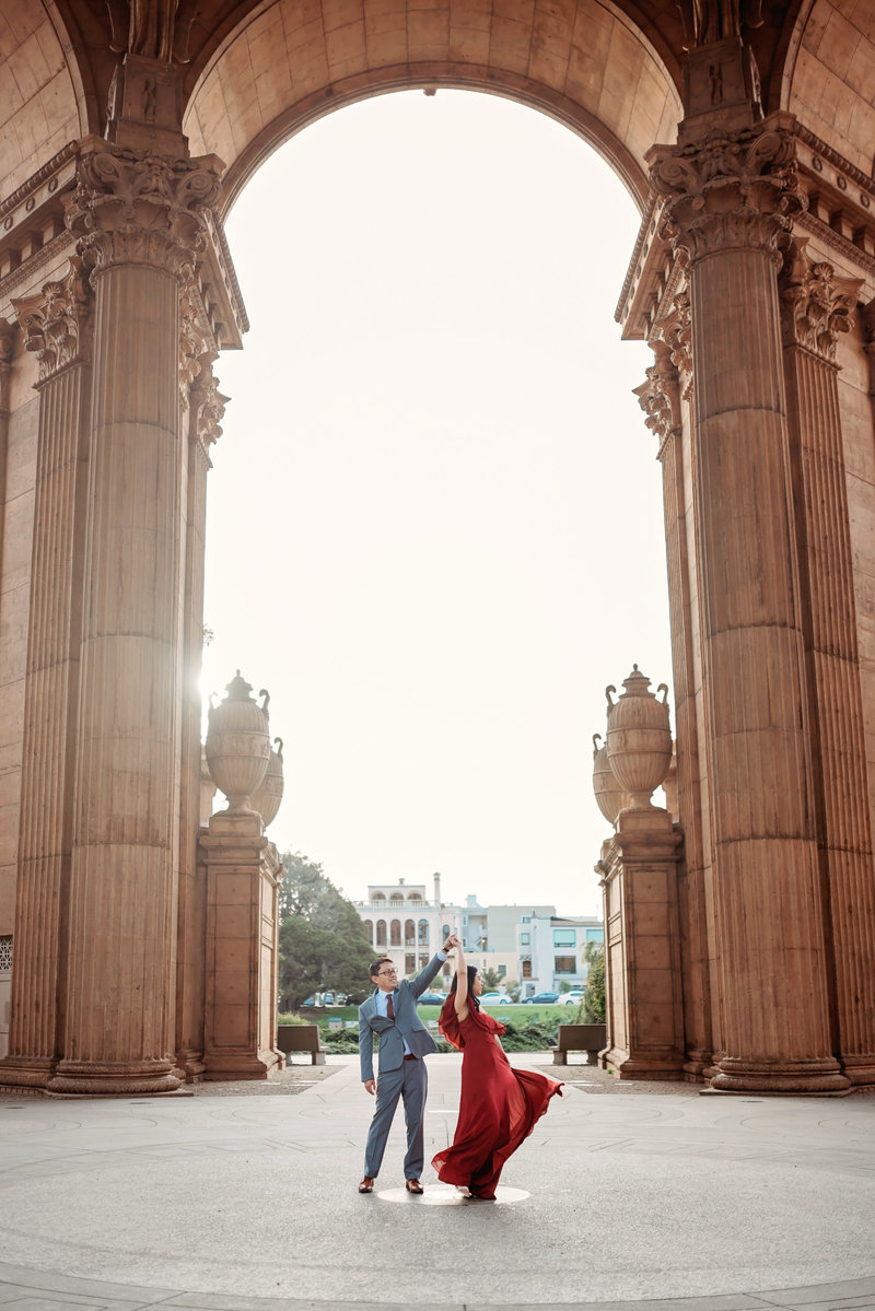 San Francisco City Hall prewedding photohsoot at palace of fine arts