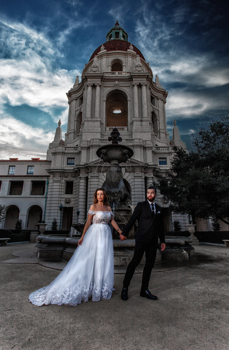 Bride and Groom Cinematic Photography outside Pasadena City Hall. Taken on a course in Southern California with  amazing photographer Michael Anthony.
