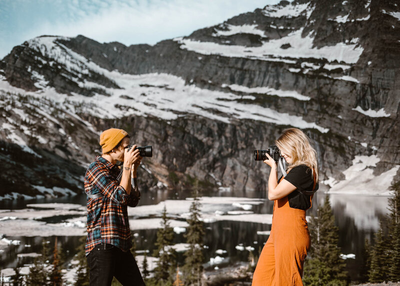 Elopement and adventure wedding photographers at glacier lakes in mountains.