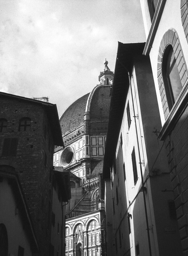 Black and white film photograph of Duomo in Florence