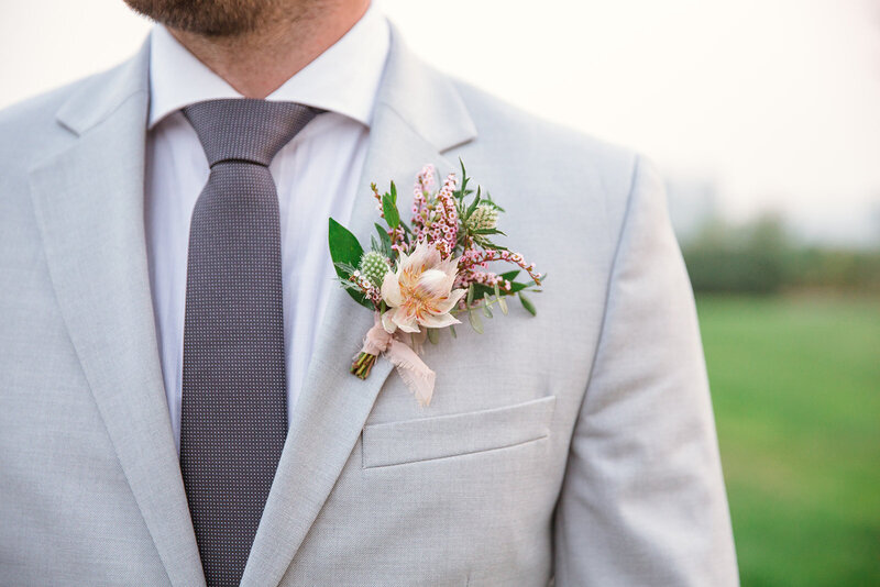 Blushing Bride Pink Protea Boutonniere for Groom