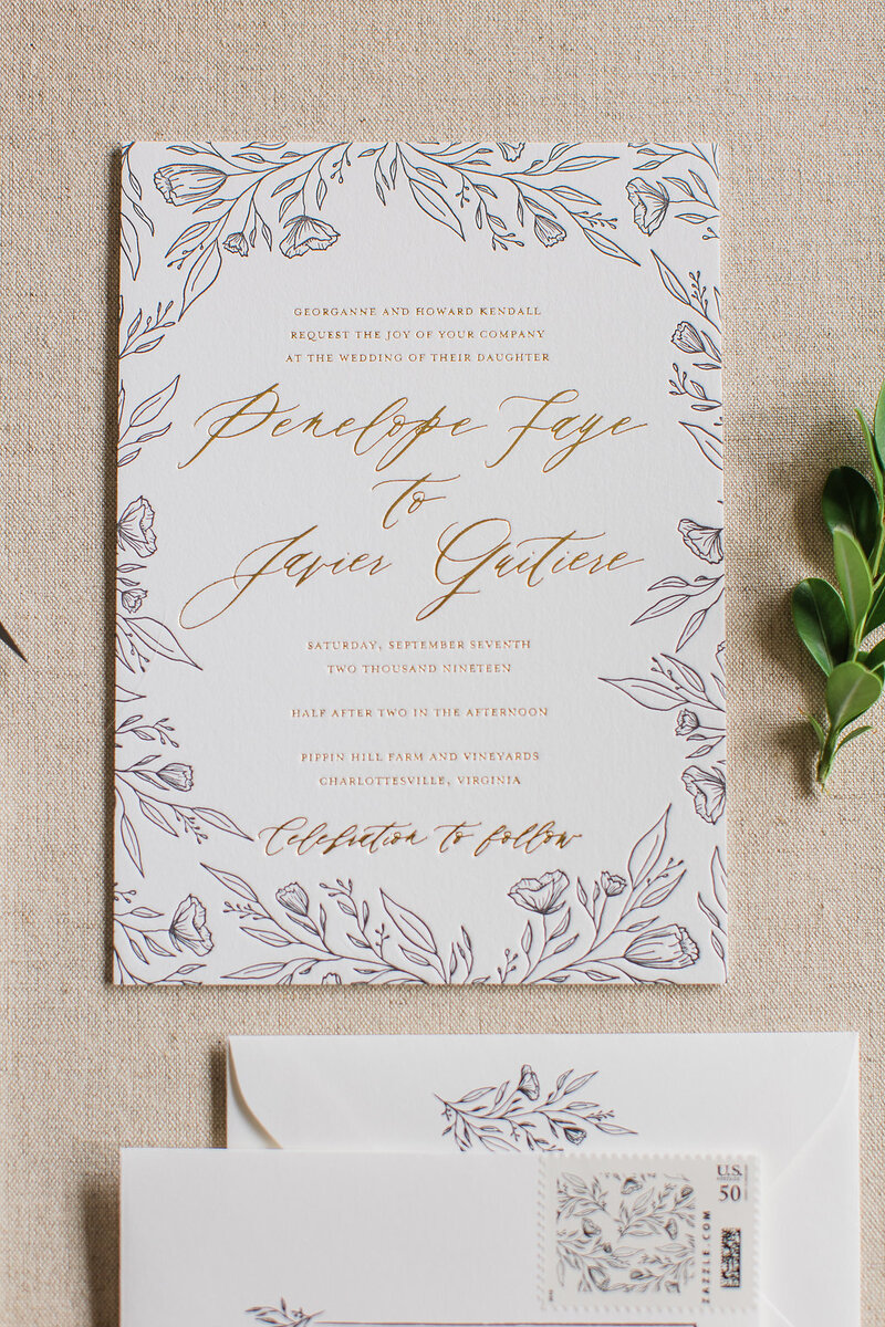 Hand Drawn Wedding Invitations with Pressed Gold Foil and Black Letterpress