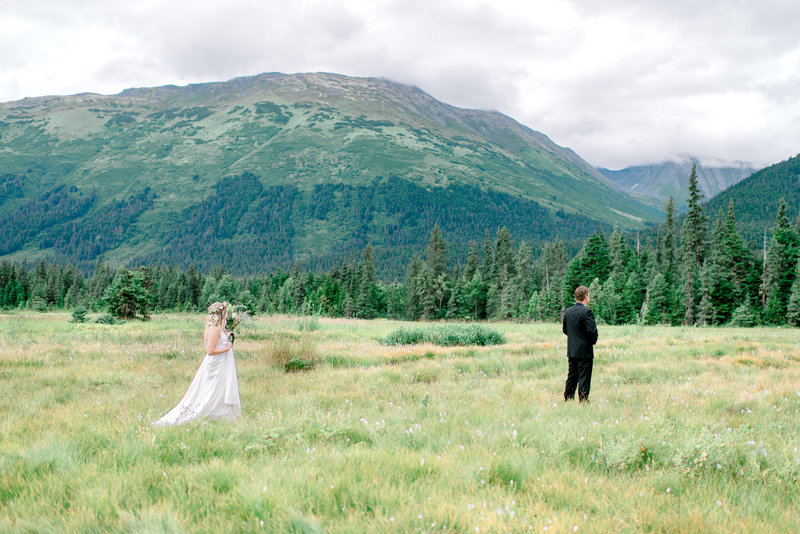 Moose Meadows Girdwood Alaska wedding first look