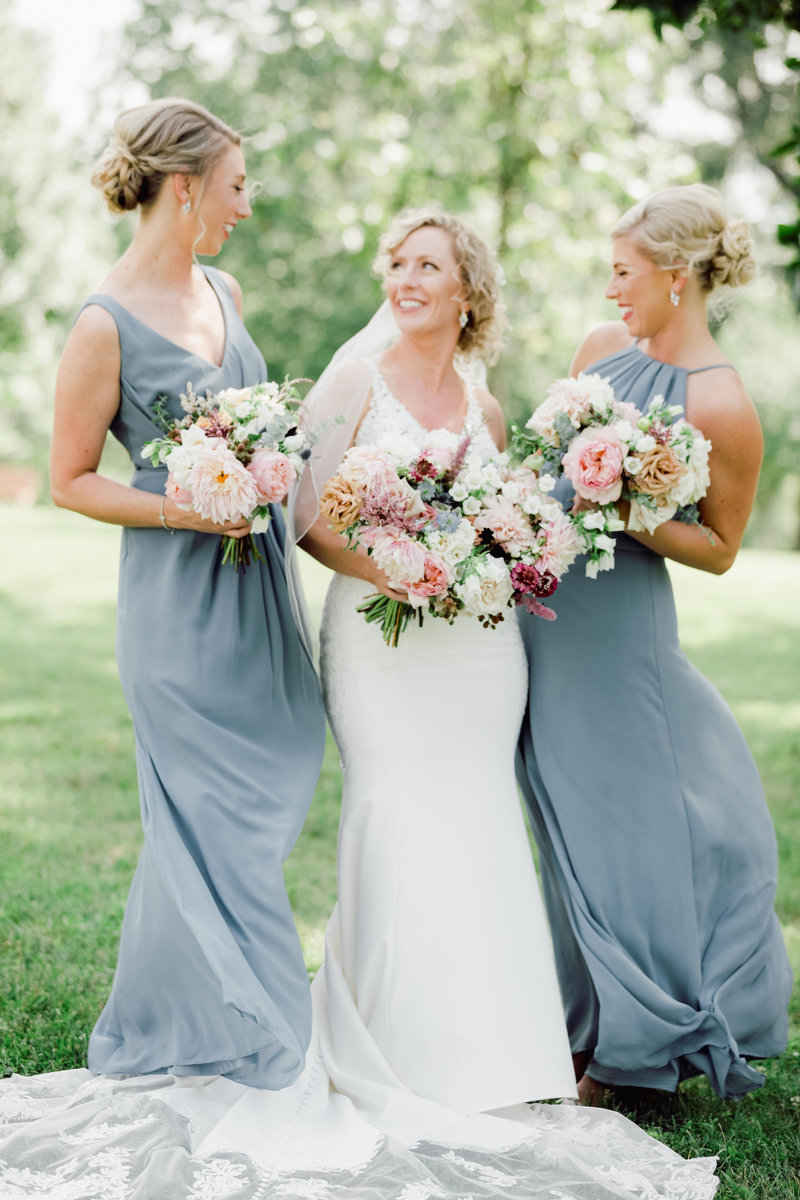 Dusty Blue Bridesmaid Dresses with Blush and White Bouquets
