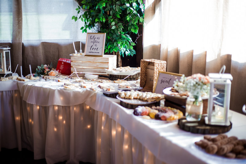 Dessert table at a Betsy's Barn wedding