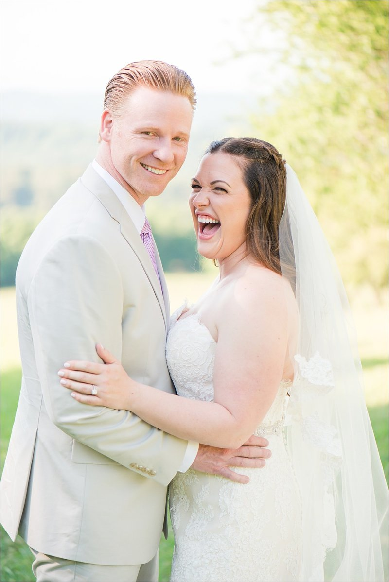 Bride and Groom laughing together at Knoxville Wedding