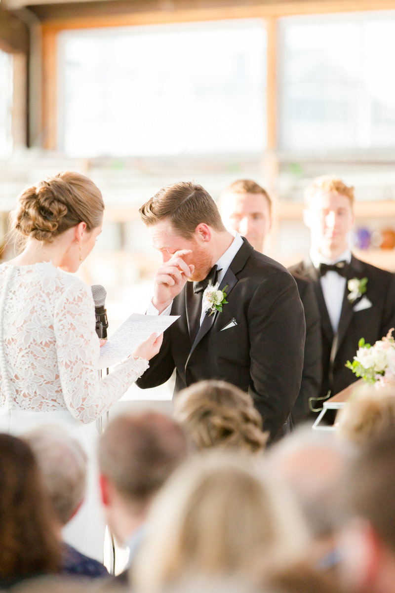 Groom crying during Bay Head Yacht Club Wedding ceremony
