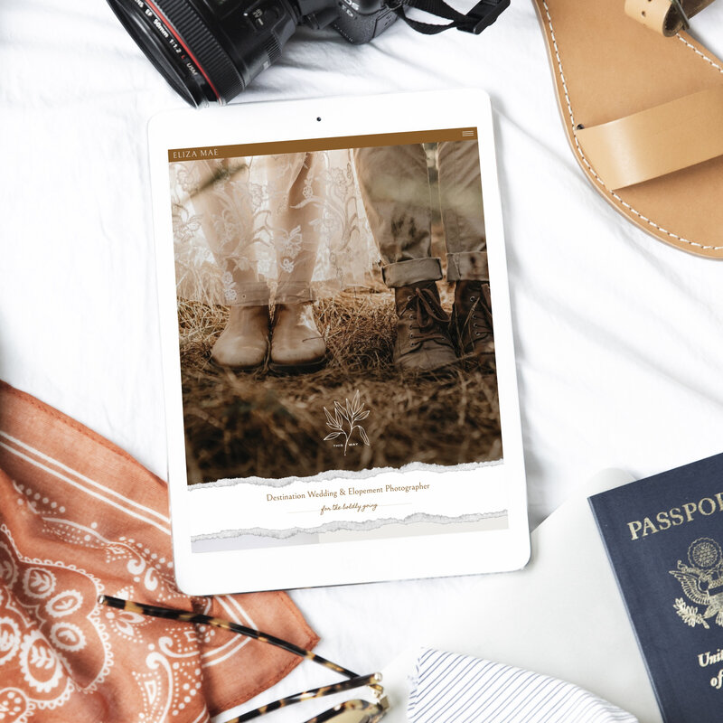An ipad mockup of a website with camera, sandal, glasses, camera, and passport.