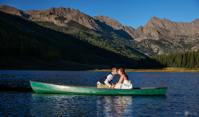 canoe kissing on Piney Lake in Colorado