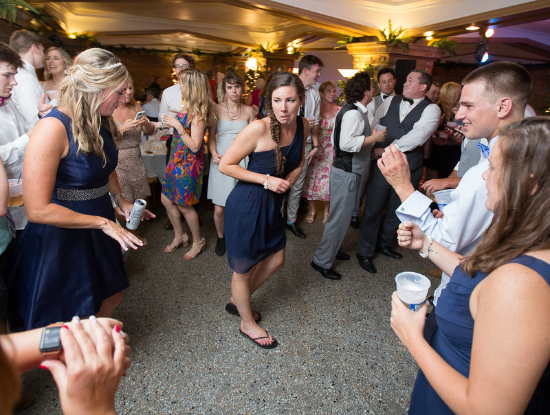 Guests dancing at Masonic Temple wedding reception