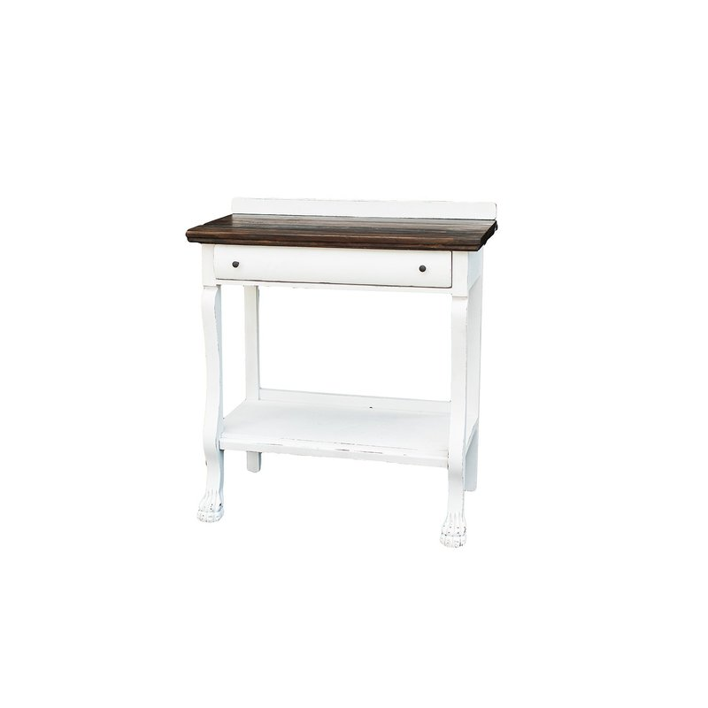 Solid wood, clawfoot entry table painted white with dark wooden top.