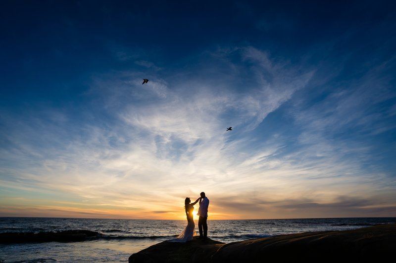 Bride and Groom Eloping in San Diego with short dress