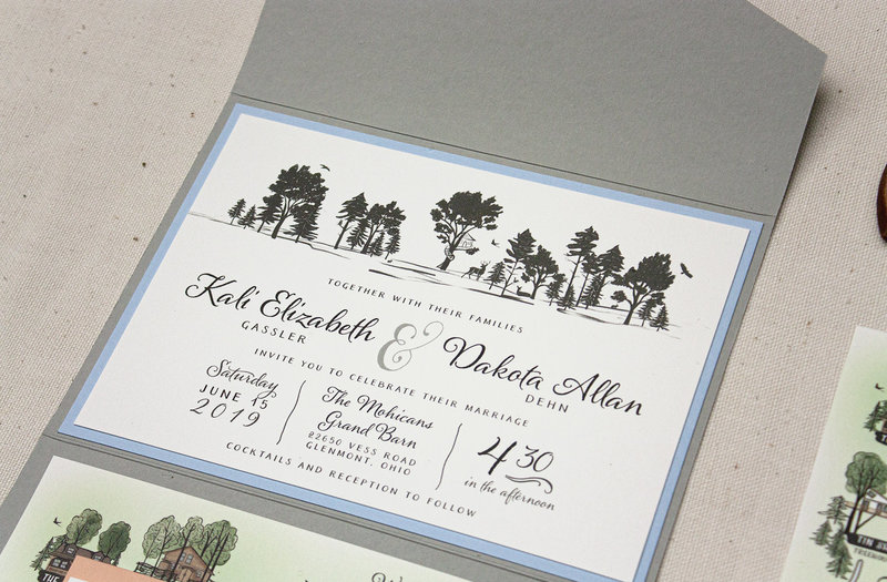 Silhouetted illustration of a forest with quaint treehouse and animals wedding invitation.