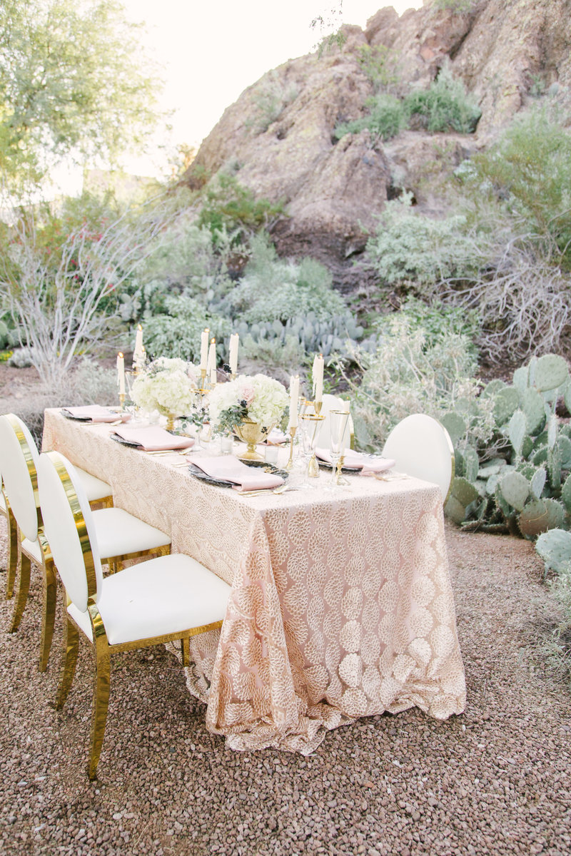 Wedding day tablescape at Botanical Gardens in Santa Barbara