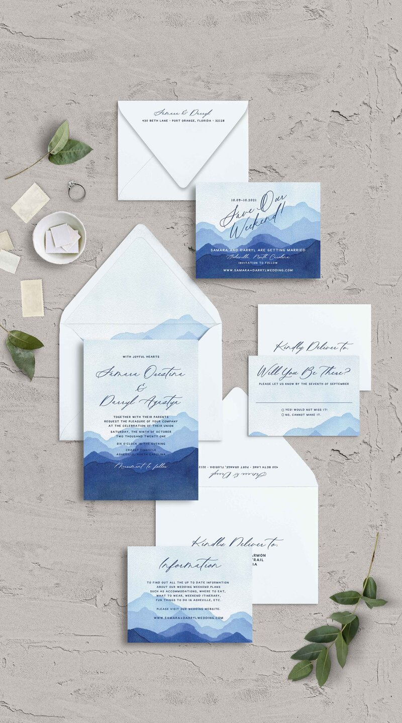 Blue Mountain Themed Wedding Invitation Suite