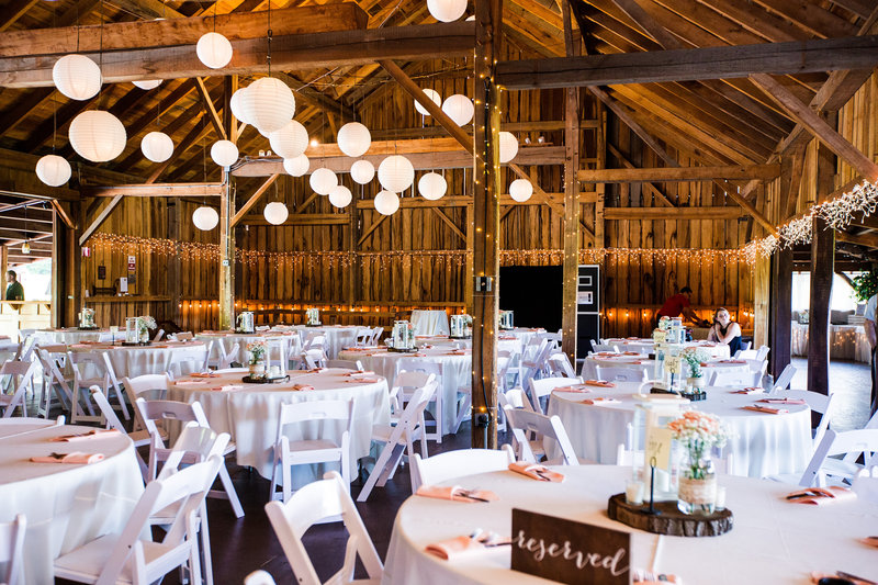 Betsy's Barn decorated for a wedding reception