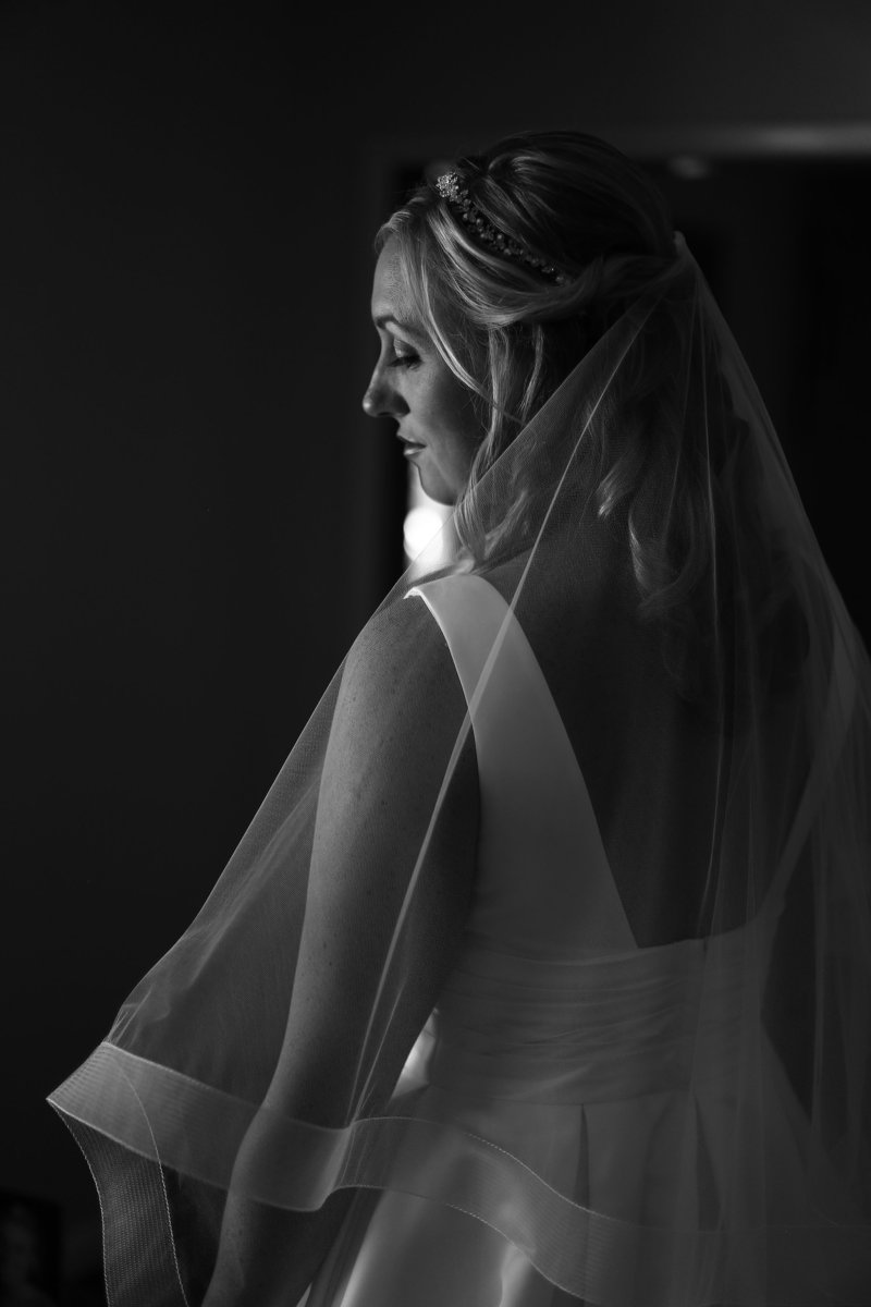 Solo portrait of bride before her St. Patrick's church wedding