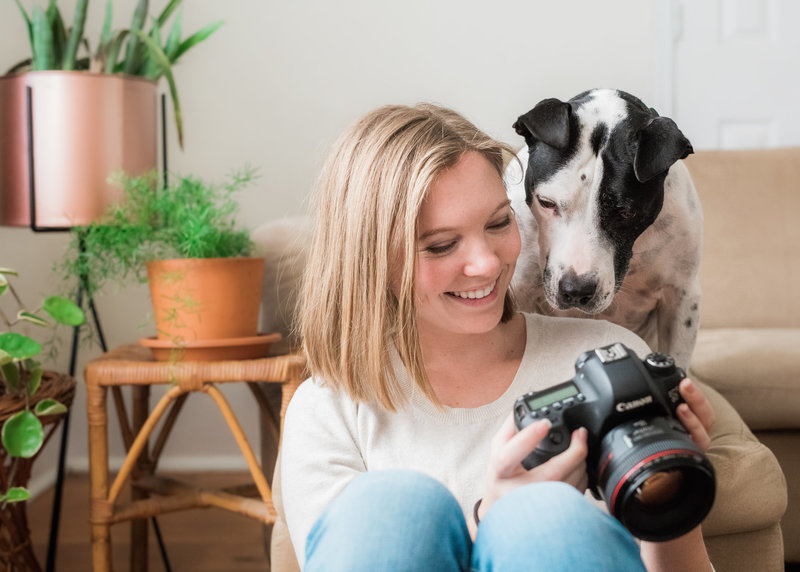 Claire Diana, Athens Georgia photographer with her dog
