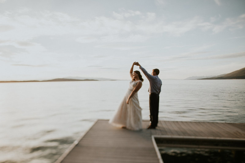 Flathead Lake MT Wedding Couple Dancing on Dock
