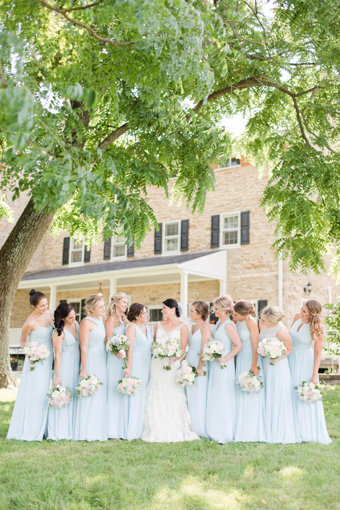blue bridesmaid dresses at springfield manor winery and distillery wedding by costola photography